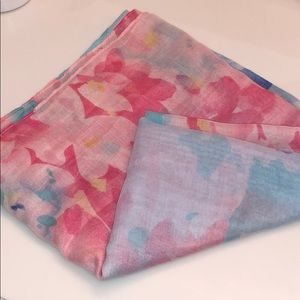 NWT Coldwater Creek Pink Blue Scarf with Flowers